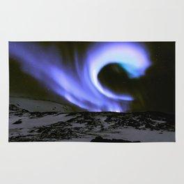 Aurora Borealis Mountains Periwinkle Lavender Rug