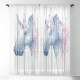 Blue Pink Unicorn Sheer Curtain