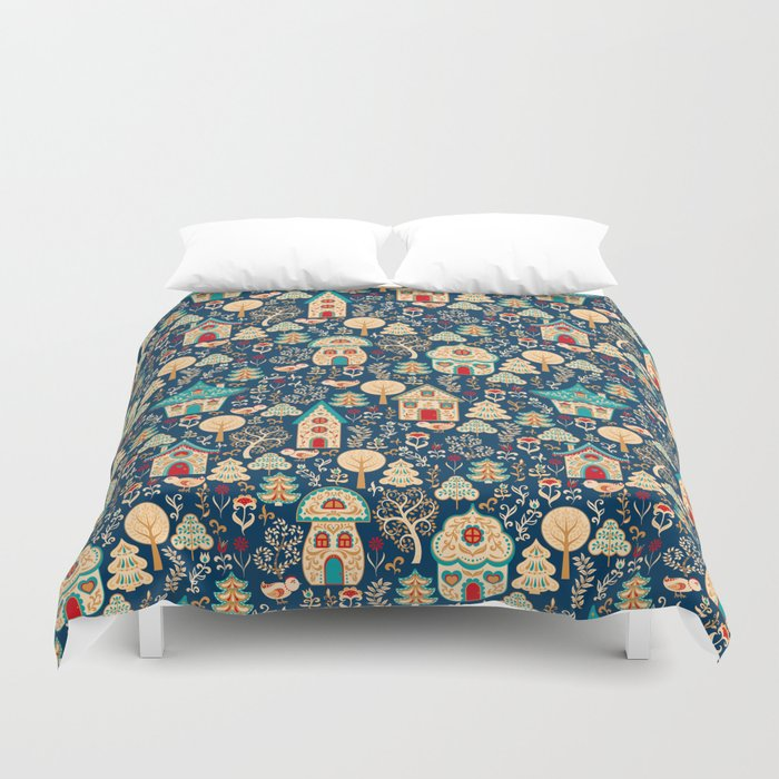 Fabulous Houses in a Magical Forest. Duvet Cover