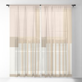 Sol Abstract Geometric Print in Tan Sheer Curtain
