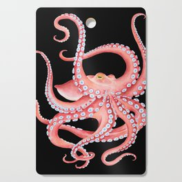 Red Octopus Tentacles Dance Watercolor Black Cutting Board