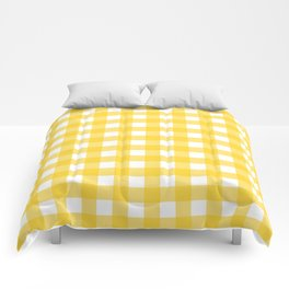 White & Yellow Gingham Pattern Comforters