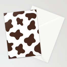 Brown Cow Spots Pattern (brown/white) Stationery Cards