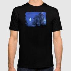 Moon between Trees  - JUSTART © Mens Fitted Tee Black MEDIUM