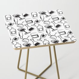 Wine Lovers Illustrated Wine Glasses and Wine Bottles Side Table