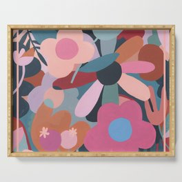 Abstract Floral Serving Tray