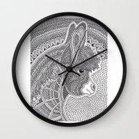 donkey Wall Clocks featuring Donkey by Olya Goloveshkina