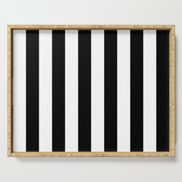 Black & White Vertical Stripes - Mix & Match with Simplicity of Life Serving Tray
