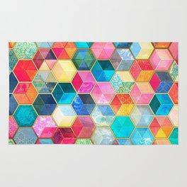 Crystal Bohemian Honeycomb Cubes - colorful hexagon pattern Rug
