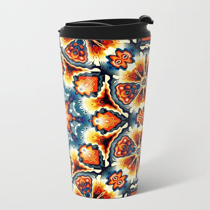 Colorful Concentric Motif Metal Travel Mug