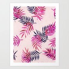 Pink Palm Pattern Art Print