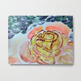 Yellow Greenery Rose Floral Metal Print