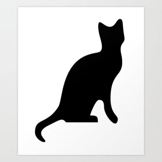 Halloween Black Cat Smooth Silhouette  Art Print