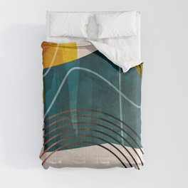 mid century shapes abstract painting Comforters