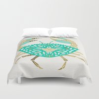 crab Duvet Covers featuring Crab – Turquoise & Gold by Cat Coquillette