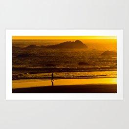 Strolling Harris Beach At Sunset - Oregon Art Print