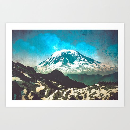 Mt Adams from Mt Rainier Washington State Art Print