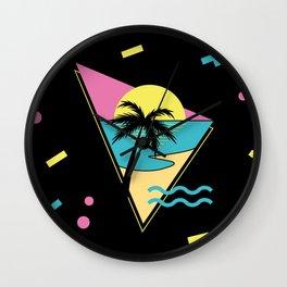 Memphis pattern 42 - 80s / 90s Retro / palm tree / summer Wall Clock