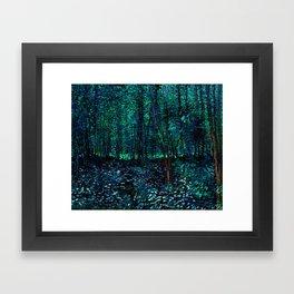 Vincent Van Gogh Trees & Underwood Teal Green Framed Art Print