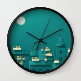The roofs of Paris night Wall Clock