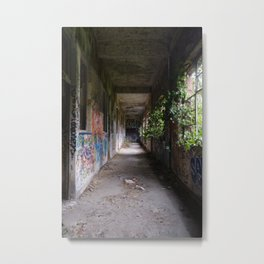 Graffiti hallway in an abanoned factory | Urbex photography Metal Print