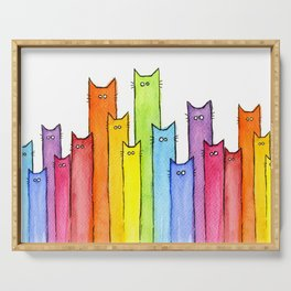 Cat Rainbow Watercolor Pattern Serving Tray
