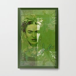 Frida Kahlo - between worlds - green Metal Print