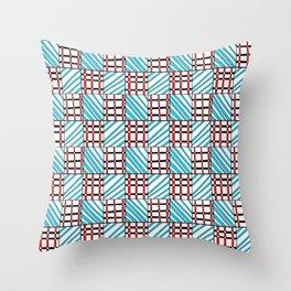 symetric tartan and gingham 19 -vichy, gingham,strip,square,geometric, sober,tartan Throw Pillow