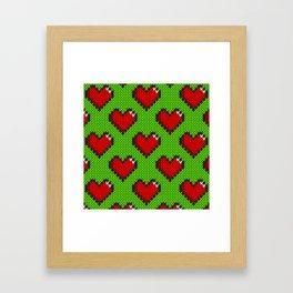 Knitted heart pattern - green Framed Art Print