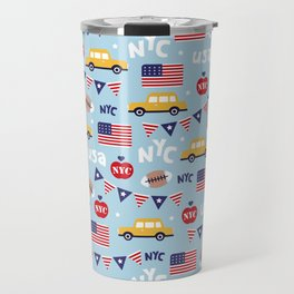 Made in the USA New York City icons pattern Travel Mug