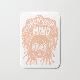 Open Your Mind in orange Bath Mat