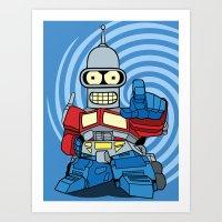 bender Art Prints featuring Optimus Bender by darko888