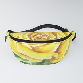 Yellow Rose Watercolor Painting Fanny Pack