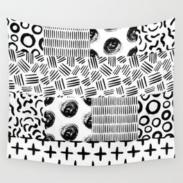 Modern black white hand drawn watercolor geometrical Wall Tapestry