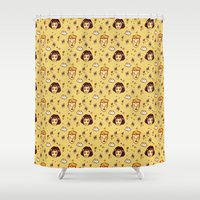 amelie Shower Curtains featuring Amelie movie pattern by exeivier