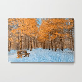 Burning Ice Forest Trail Metal Print