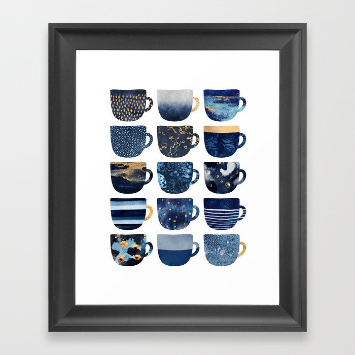 Pretty Blue Coffee Cups Gerahmter Kunstdruck