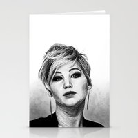 jennifer lawrence Stationery Cards featuring Jennifer Lawrence by Cécile Pellerin