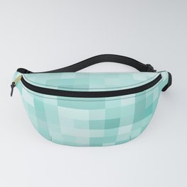geometric square pixel pattern abstract in green Fanny Pack