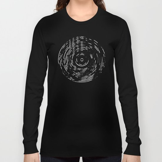 Record White on Black Long Sleeve T-shirt