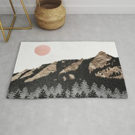 Flatirons Boulder Colorado - Climbing Gold Mountains Rug