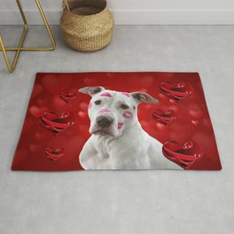 Dog and Red Hearts Rug