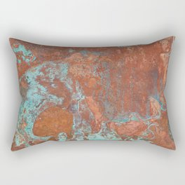 Tarnished Metal Copper Texture - Natural Marbling Industrial Art Rectangular Pillow