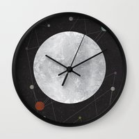 the moon Wall Clocks featuring Moon by FLATOWL