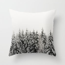 Winter Trees IV - Snow Capped Forest Adventure Nature Photography Throw Pillow