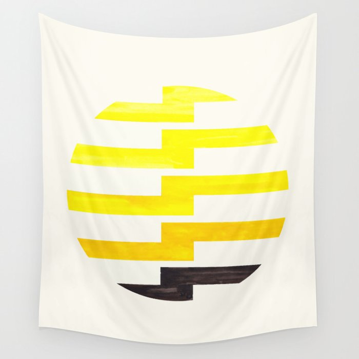 Minimalist Mid Century Circle Frame Yellow Zig Zag Colorful Lightning Bolt Geometric Pattern Wall Tapestry By Enshape Society6