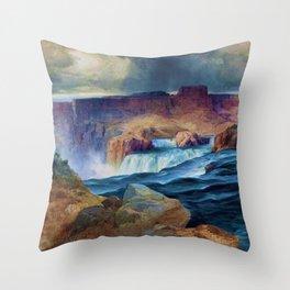 Horseshoe Falls, Snake River, Idaho waterfall landscape painting by Thomas Moran Throw Pillow