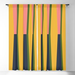 Geometric Shape Study in Yellow, Coral, and Navy Blackout Curtain