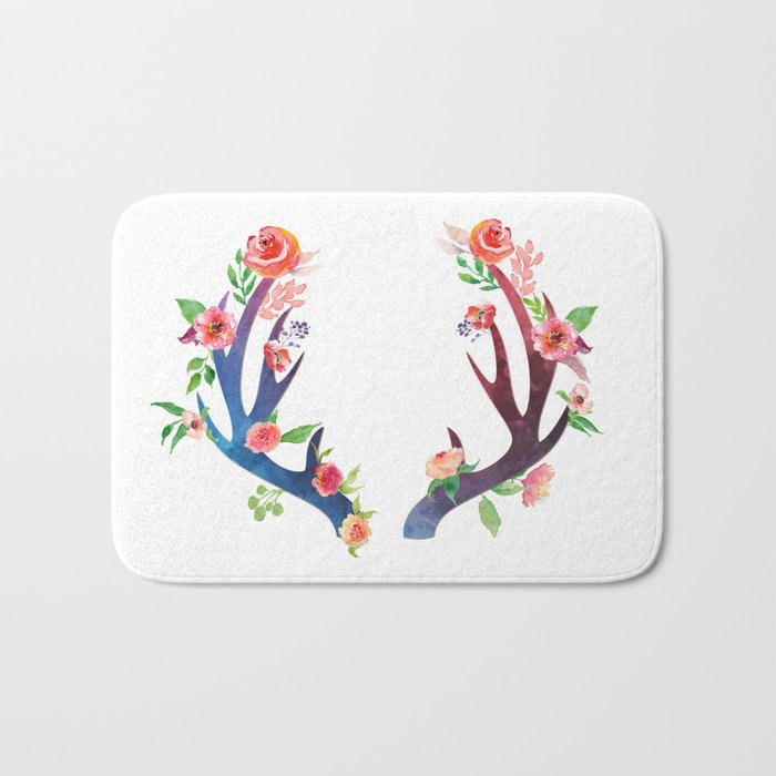 Roses and Antler - Floral flowers  watercolor Illustration Bath Mat