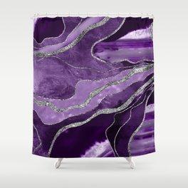 Purple Marble Agate Silver Glitter Glam #1 (Faux Glitter) #decor #art #society6 Shower Curtain